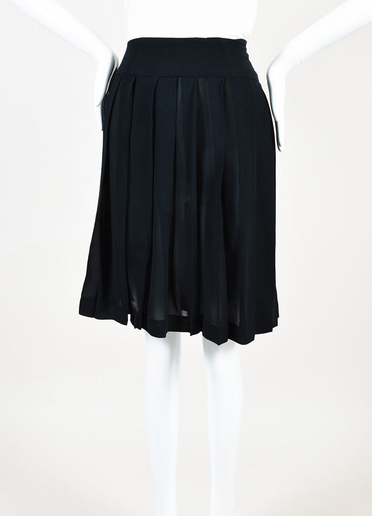 Chanel Black Sheer Silk Gold Toned Button Front Pleated Skirt Frontview