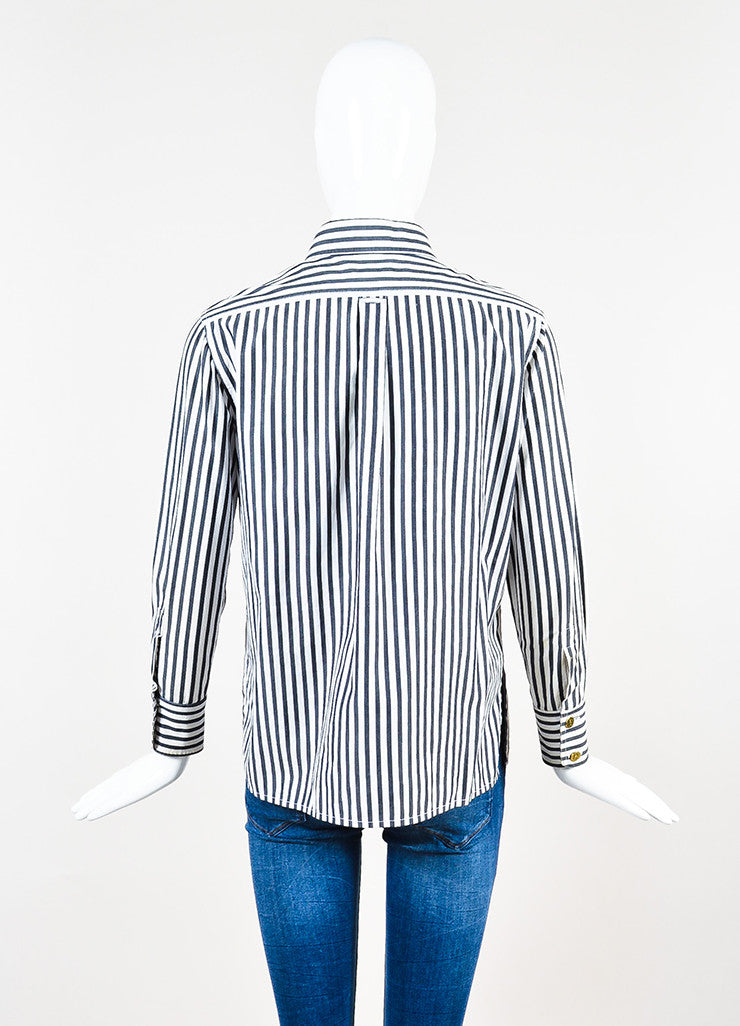 Chanel Black and White Striped Gold Toned 'CC' Button Down Shirt Backview