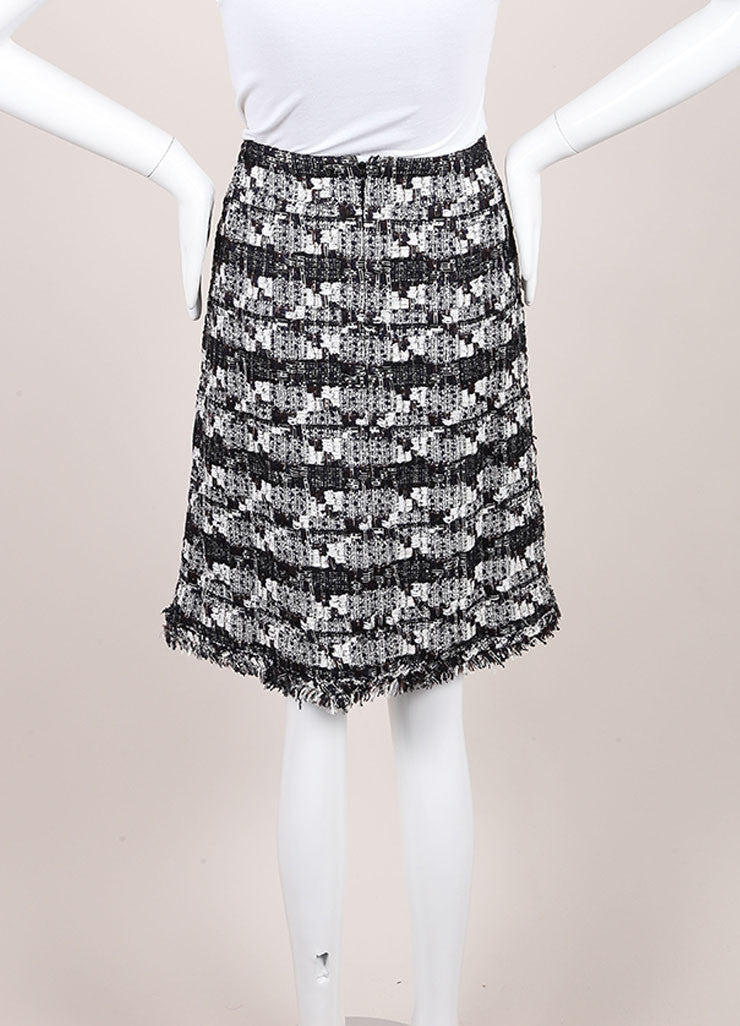 Chanel Chanel Black And White Woven Tweed Knit Metallic Fringe Trim A Line Skirt Backview