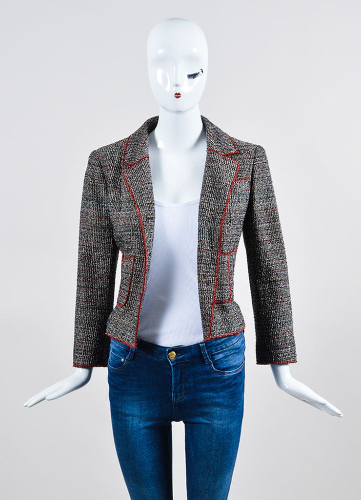 Black, White, and Red Chanel Tweed Structured Serged Trim Jacket Frontview