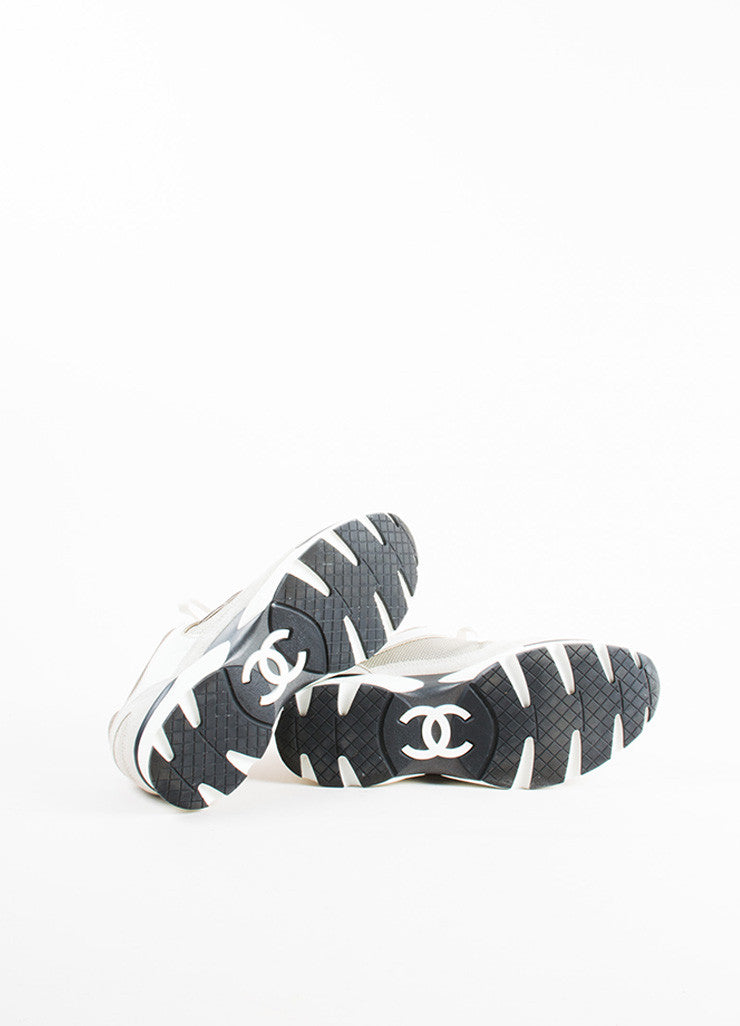 "Chanel Grey, White, and Metallic Gold Leather Suede ""CC"" Sneakers Outsoles"