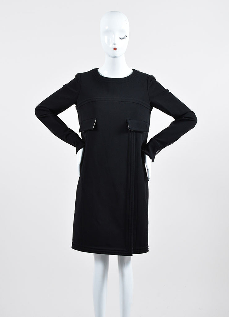 Black Chanel Metallic Tweed Lining Long Sleeve Shift Dress Frontview
