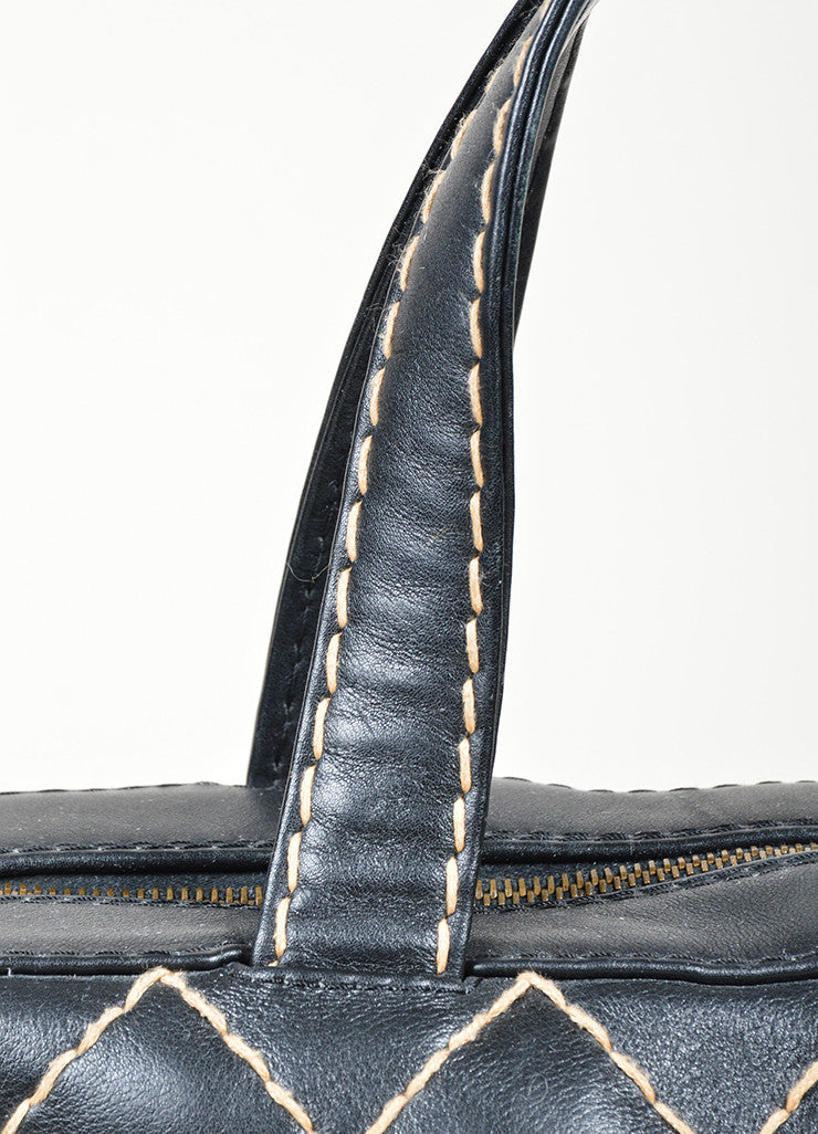 "Chanel ""Surpique Bowler"" Black and Beige Leather Quilted Tote Bag Detail 2"
