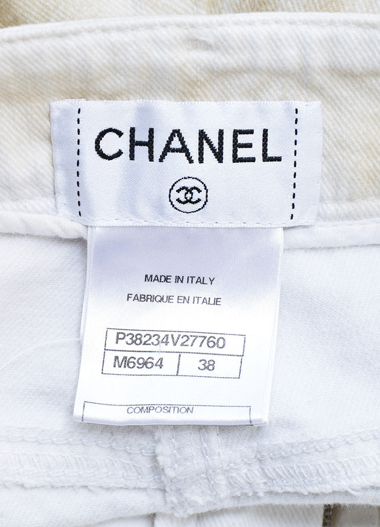 Chanel White and Beige Cotton Tropical Print Straight Leg Cropped Jeans Brand