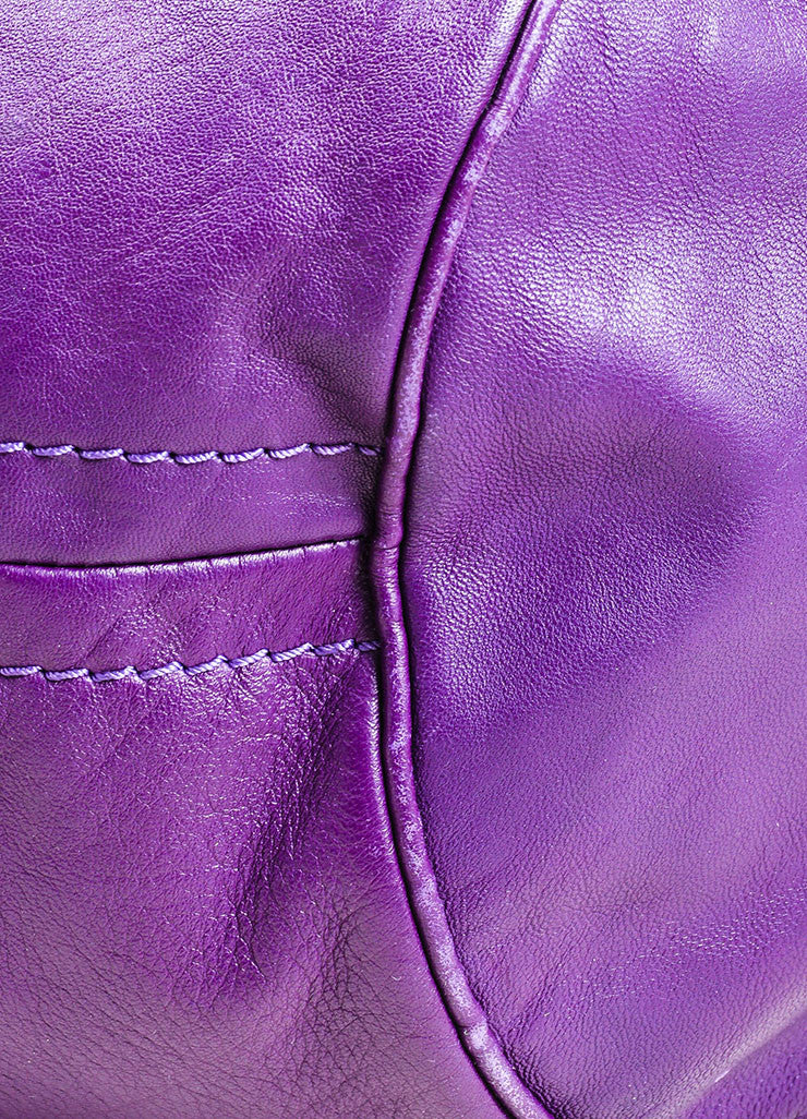 "Chloe ""Triple Chain Milton"" Purple Leather Hobo Shoulder Bag Detail"