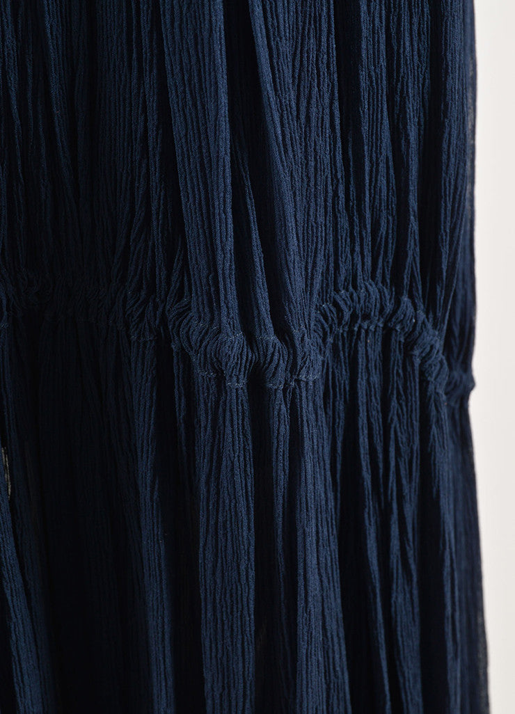 Chloe Navy Blue Silk Chiffon Pleated Drawstring Maxi Skirt Detail