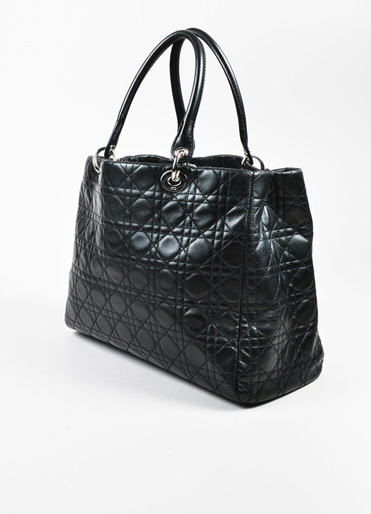 "å´?ÌÜChristian Dior Black ""Cannage"" Quilted Leather Large ""Lady Dior"" Tote Bag Sideview"