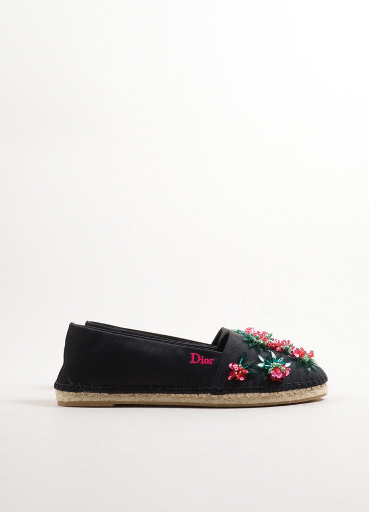 "Christian Dior Black Satin Beaded ""Sunset Loafer"" Espadrilles Sideview"