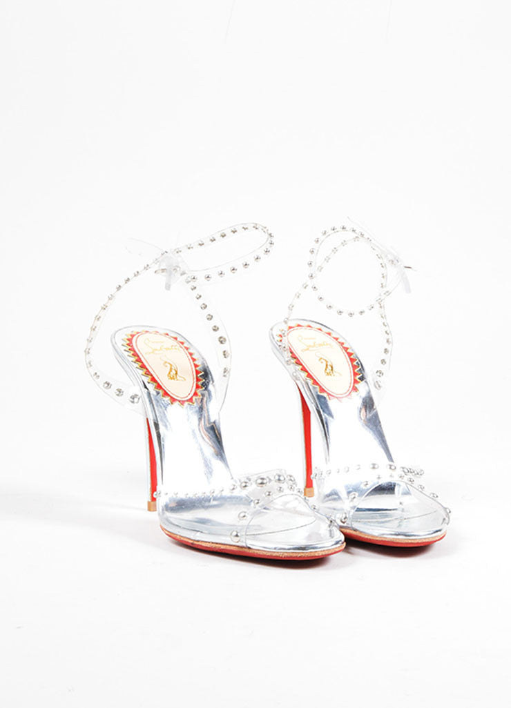 "Silver and Clear Christian Louboutin Studded ""Icone a Clouse"" Sandals Frontview"