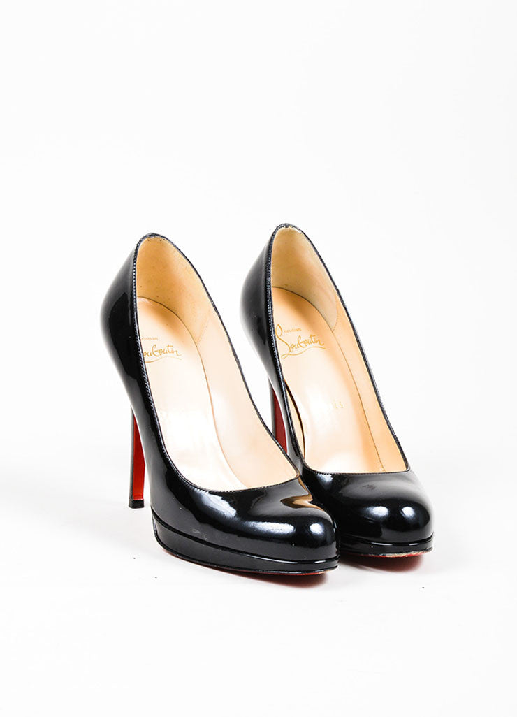 "Black Christian Louboutin Patent Leather Almond ""New Simple"" Pumps Frontview"