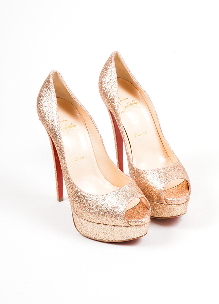 "Gold Glitter Christian Louboutin ""Lady 150mm"" Peep Toe Platform Pumps Frontview"