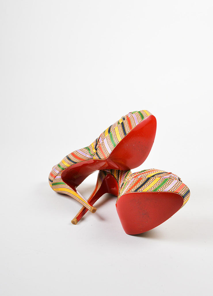 "Christian Louboutin Multicolor Textile ""Rasta Damas Greissimo 140"" Pumps Outsoles"