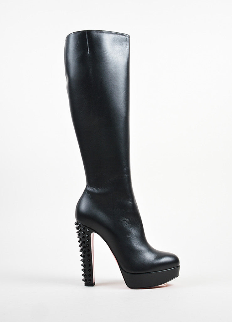 "Christian Louboutin Black Leather Spike ""Taclou Botta 140"" Boots Sideview"