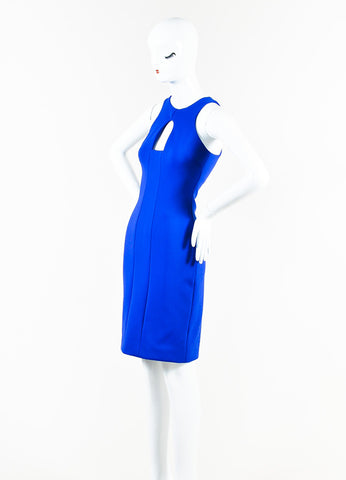 Blue Cushnie et Ochs Stretch Scuba Cut Out Sleeveless Sheath Dress Side