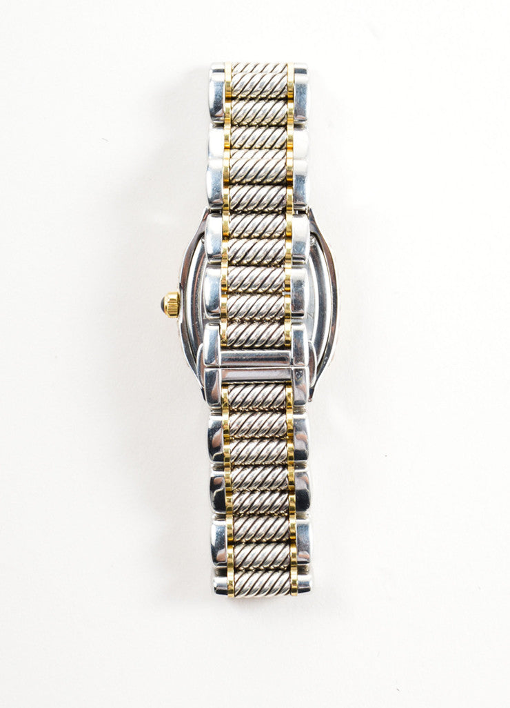 "David Yurman Stainless Steel, 18K Gold, and Diamond 25mm ""Thoroughbred"" Watch Backview"