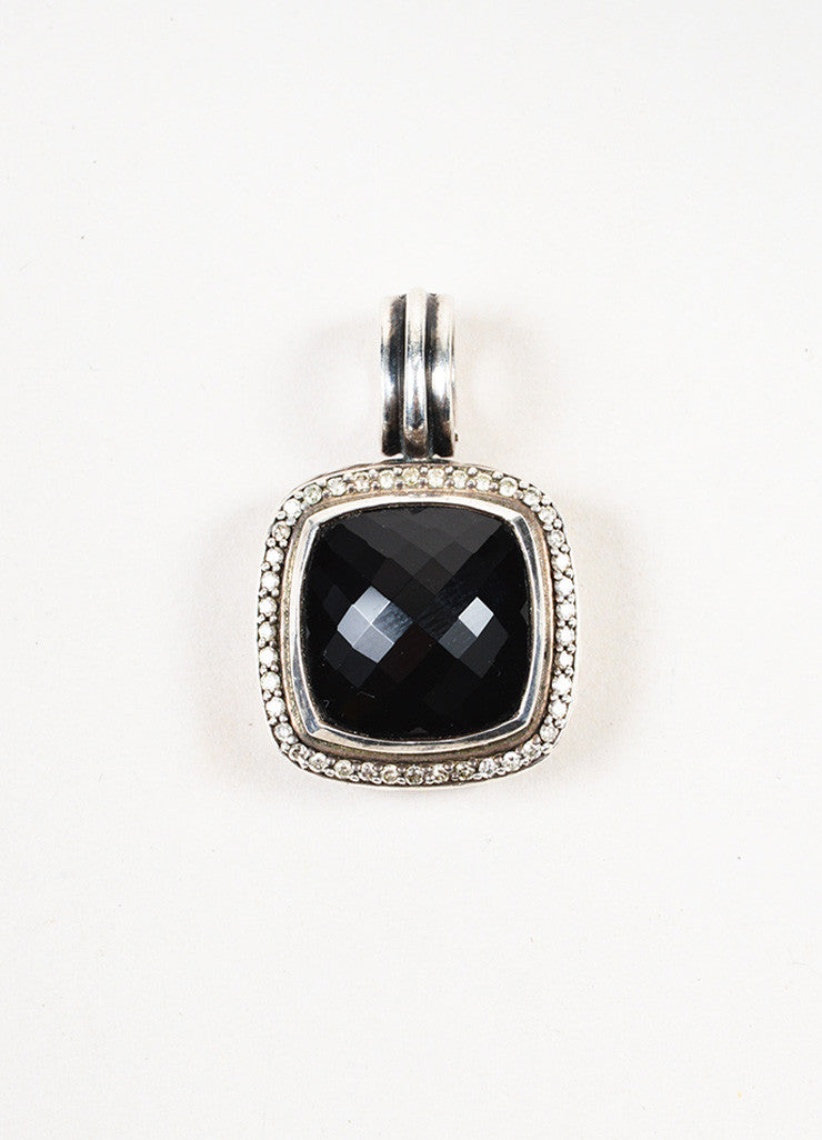 "David Yurman Sterling Silver Black Onyx Pave Diamond ""Albion"" Pendant Enhancer Frontview"