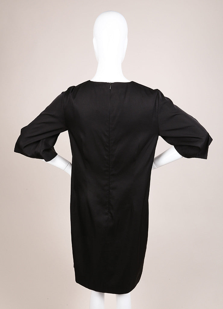 Dries Van Noten Black Satin Ruffle Trim Crop Sleeve Shift Dress Backview