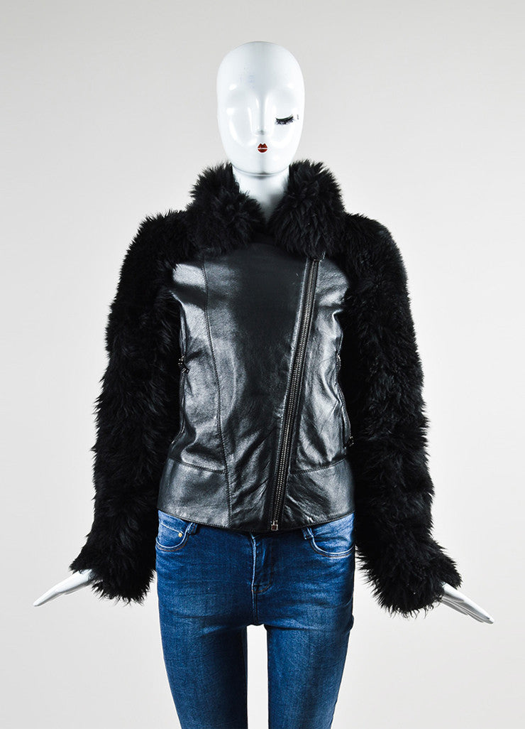 Black Gareth Pugh Leather and Shearling Fur Sleeves Jacket Frontview 2