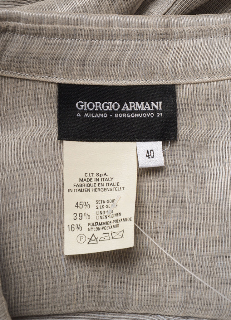 Giorgio Armani Silver Silk and Linen Cropped Button Up Blouse Brand