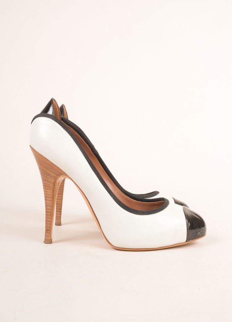 Giuseppe Zanotti White and Black Leather Cap Toe Platform Pumps Sideview