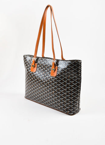 "Goyard Black, Tan, and White Coated Canvas and Leather ""Okinawa"" GM Tote Bag Sideview"