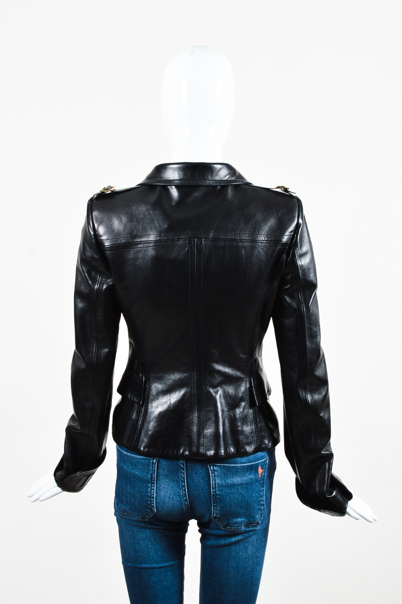 Black Gucci Leather Fitted Long Sleeve Buttoned Jacket Back