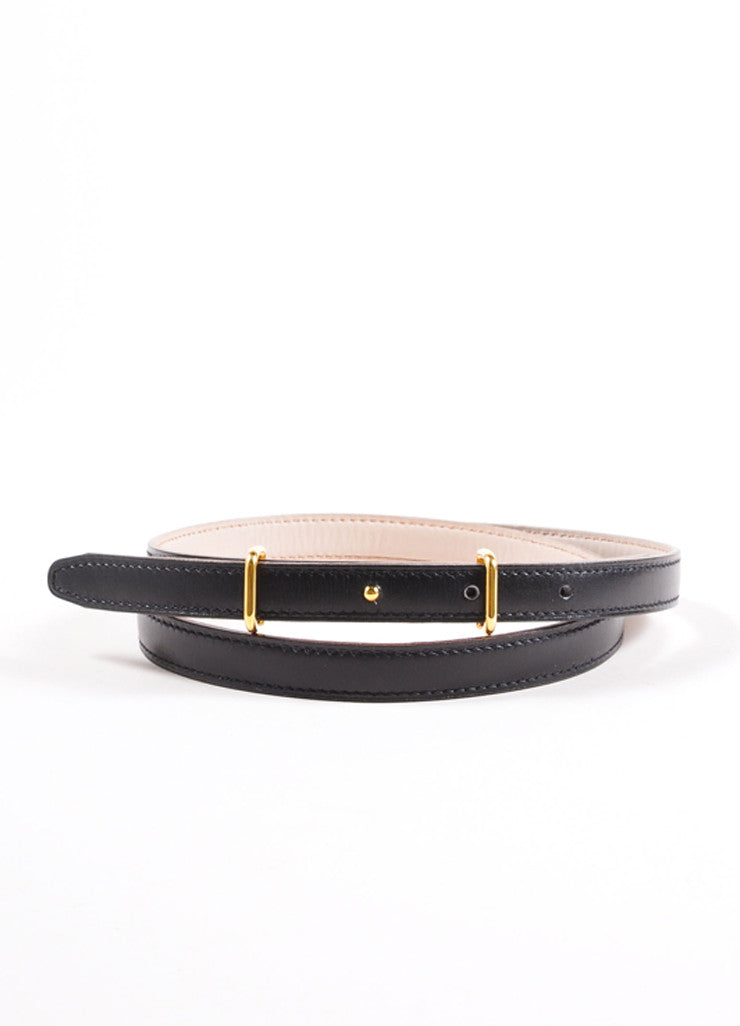 Hermes Black and Gold Toned Prong Buckle Skinny Leather Belt Frontview