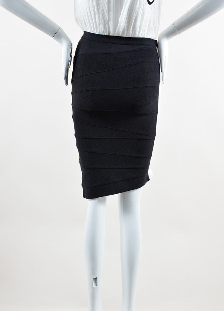 Herve Leger Black White Stripe Stretch Bandage Bodycon Short Pencil Skirt Backview