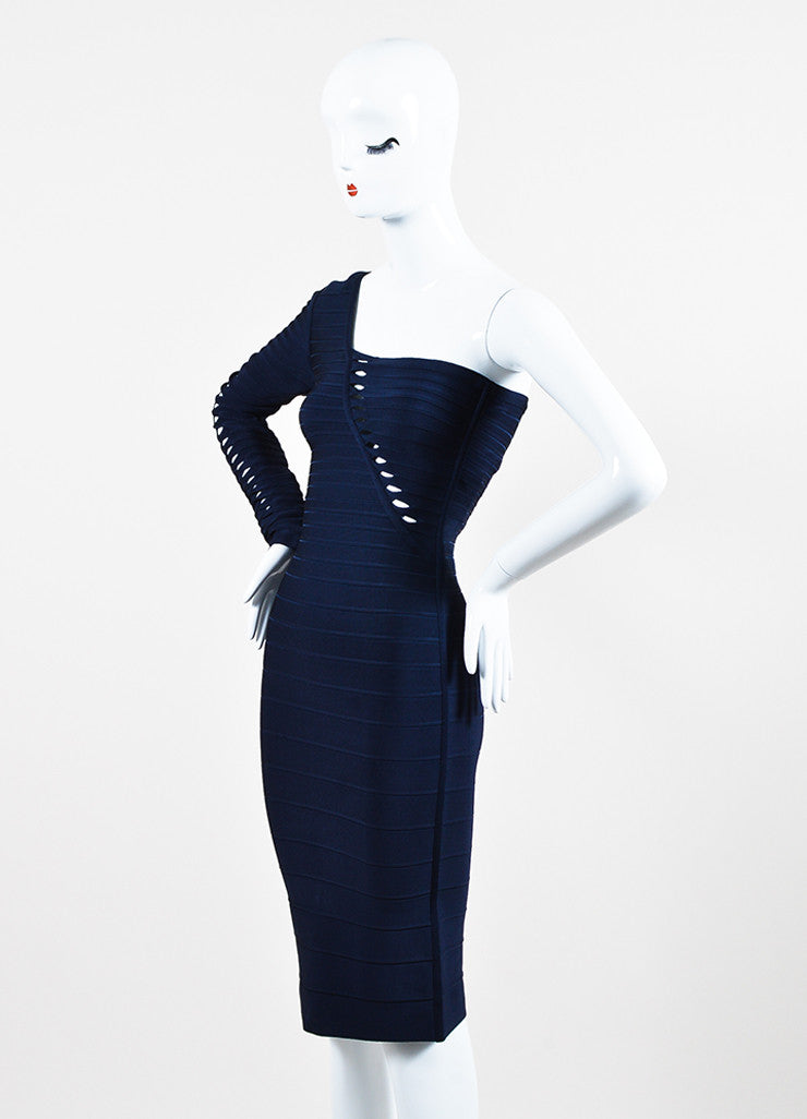 "Herve Leger ""Pacific Blue"" One Shoulder ""Sheron"" Bandage Dress Sideview"