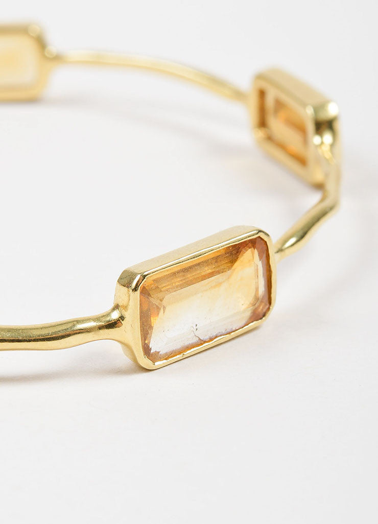 "18K Yellow Gold and Citrine 5 Stone Ippolita ""Rock Candy"" Bangle Bracelet Detail"