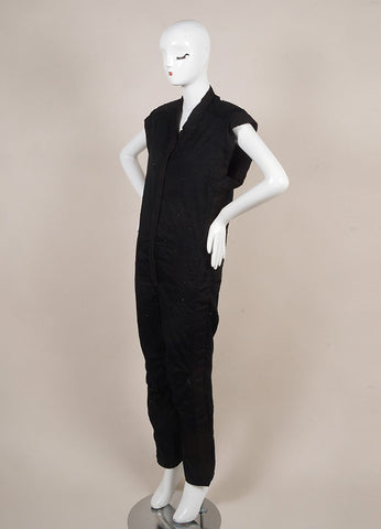 Isabel Marant Black Knit Sequin Beaded Embellished Sleeveless Jumpsuit Sideview
