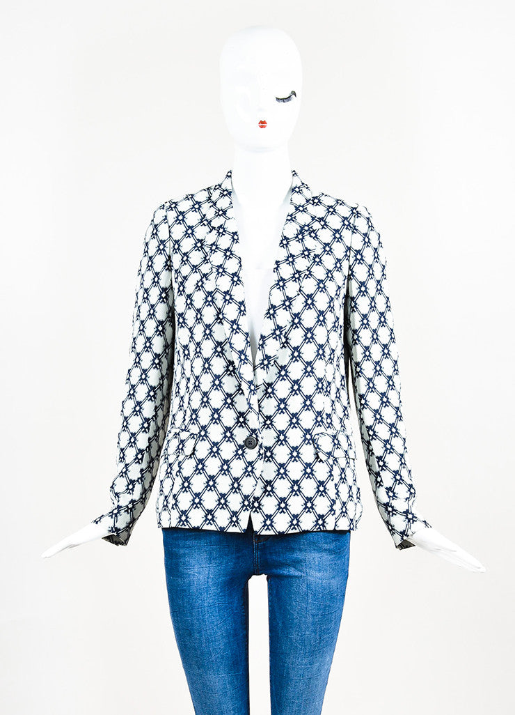 Isabel Marant White and Navy Blue Crepe Printed Blazer Jacket Frontview 2
