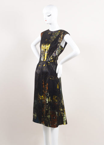 J. Mendel New With Tags Black and Multicolor Silk Lace Insert Sleeveless Dress Sideview