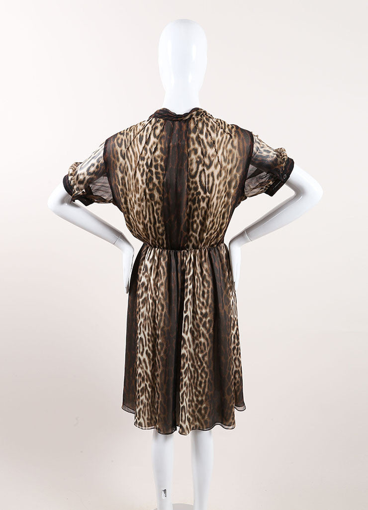 Jason Wu New With Tags Cream and Brown Silk Leopard Print Ruffle Pleated Dress Backview