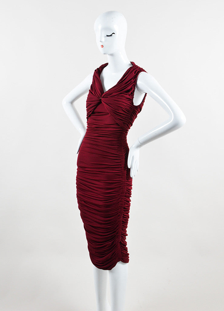 "Lanvin Burgundy Red ""Raisin"" Stretch Knit Long Draped Dress Sideview"