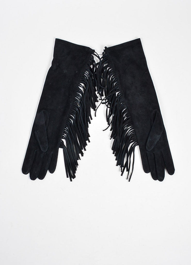 Black Lanvin Goat Suede Fringe Medium Length Gloves Backview
