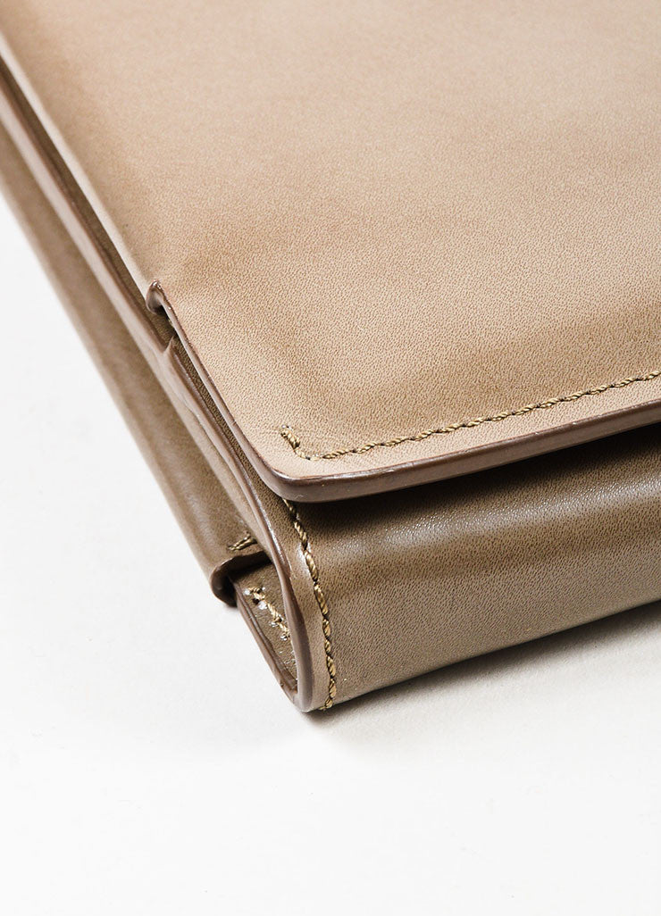 Lanvin Taupe Leather Fold Over Document Portfolio Clutch Detail