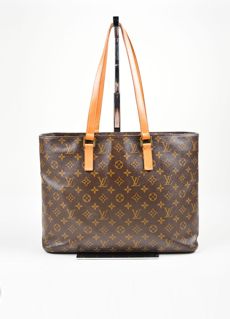 Brown Tan Louis Vuitton Monogram Canvas Luca Tote Bag Front