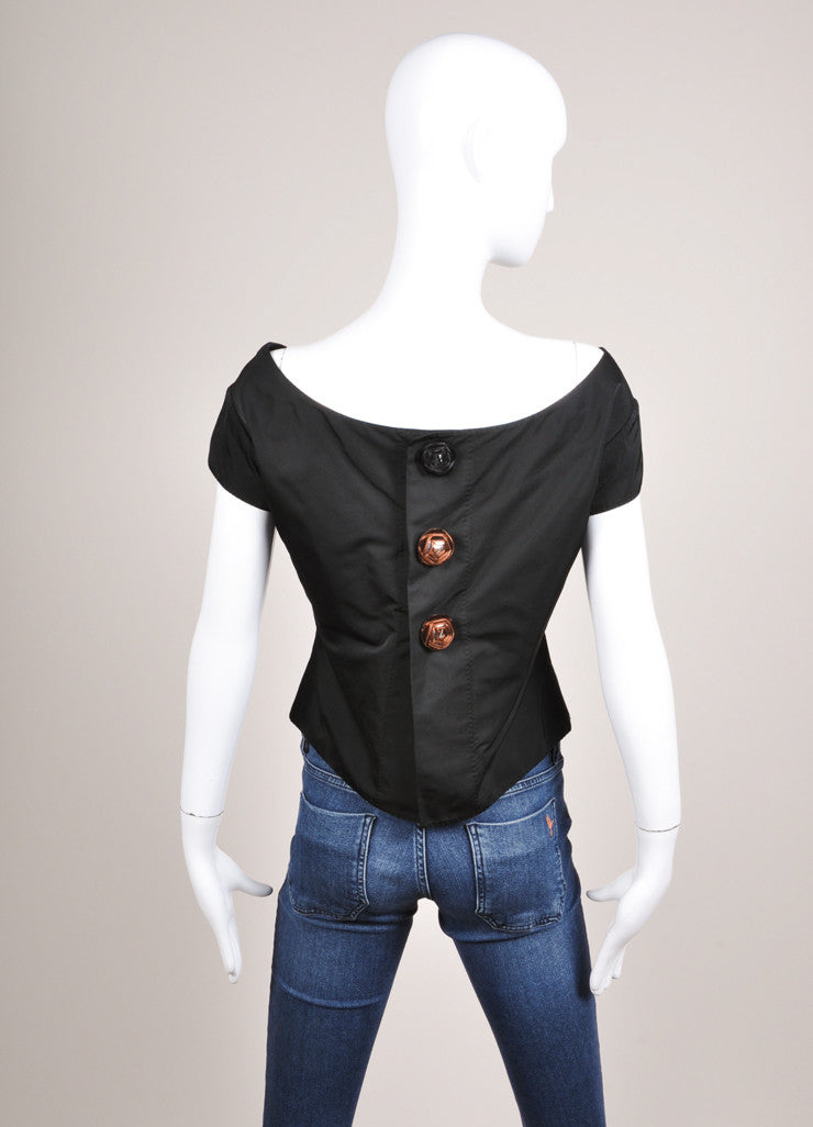 Louis Vuitton Black Silk Blend Bow Detail Embellished Cap Sleeve Shell Top Backview