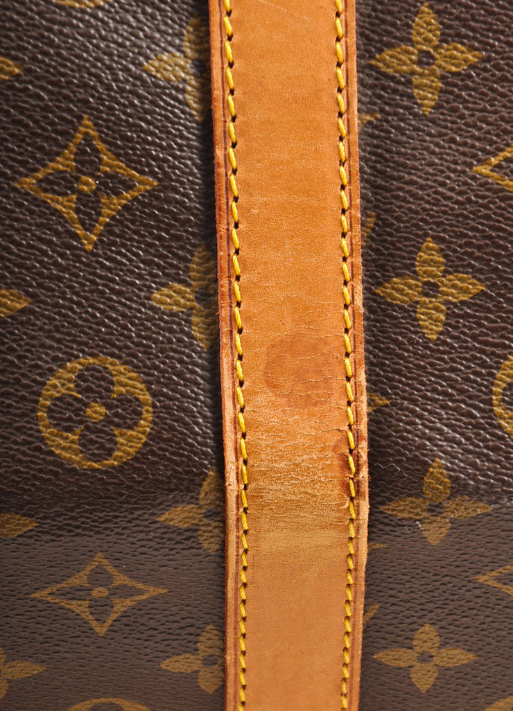 "Louis Vuitton Brown and Tan Coated Canvas and Leather Monogram ""Keepall 60"" Duffel Bag Detail 4"