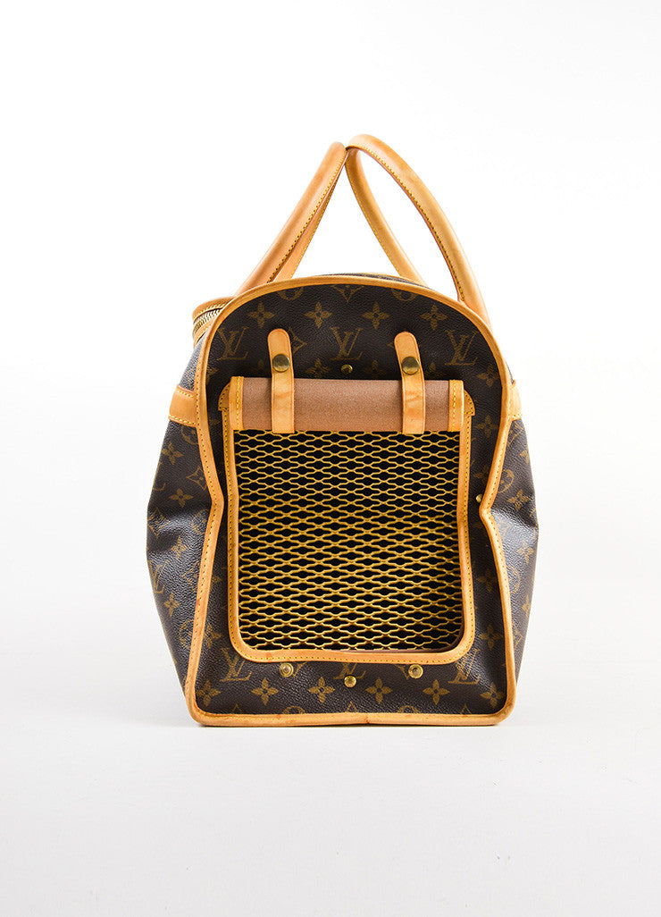 "Louis Vuitton Brown and Tan Coated Canvas and Leather Monogram Logo ""Dog Carrier 50"" Bag Sideview 2"