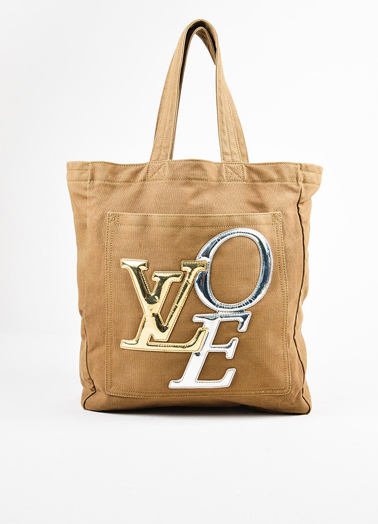 "Louis Vuitton Limited Edition Olive Green Canvas ""That's Love GM"" Tote Bag Frontview"