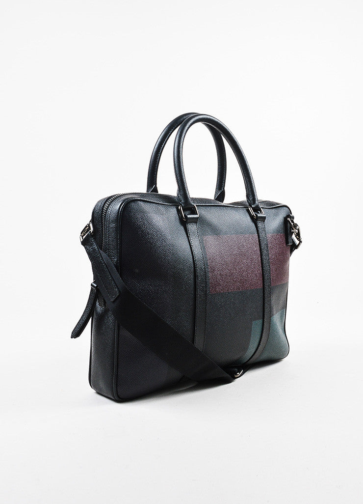 Men's Burberry Black, Green, and Red Coated Canvas and Leather Removable Strap Briefcase Sideview