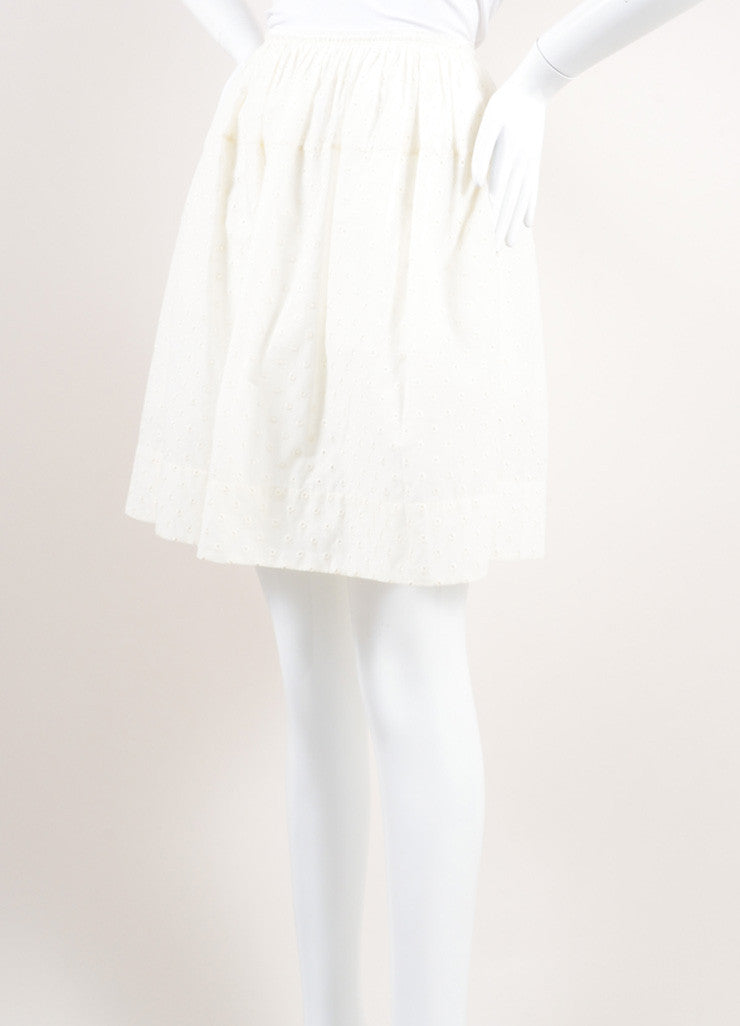 Marc Jacobs New With Tags Cream Cotton Eyelet Knee Length Yoked Skirt Sideview