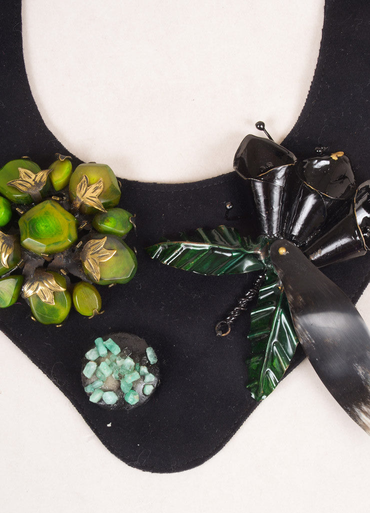 Marni Black and Green Felt Ribbon Stone Embellished Collar Necklace Detail