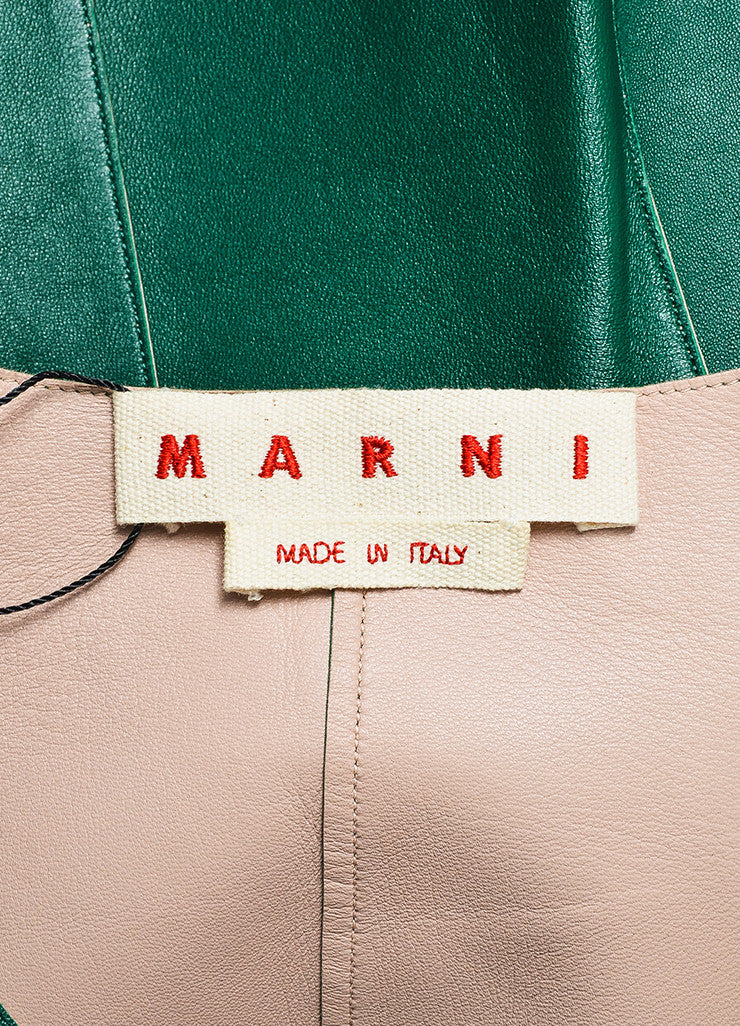 Marni Green Leather Peplum Jacket Brand
