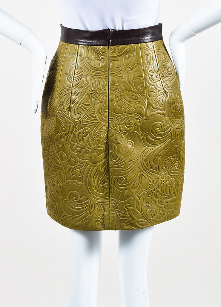 Mary Katrantzou Olive Green and Brown Leather Embossed Mini Skirt Backview