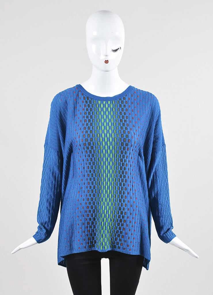 Blue and Multicolor M Missoni Dash Knit Dolman Sleeve Sweater Frontview