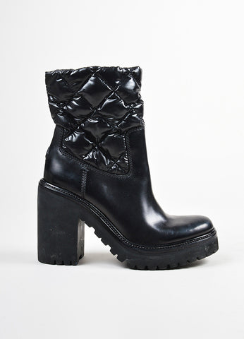 Moncler Black Leather Down Quilted Chunky Heel Puffer Mid Calf Boots Sideview