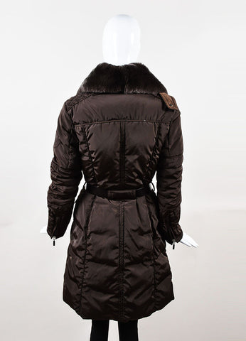 Brown Moncler Belted Down Filled Removable Fur Trim Puffer Coat Backview